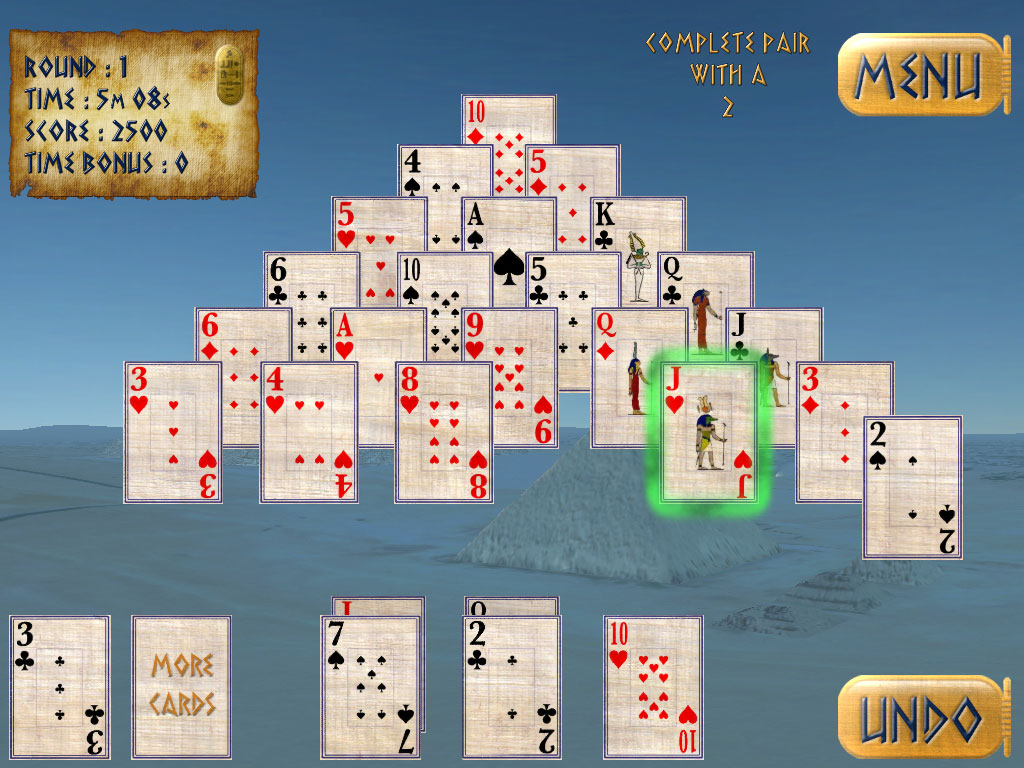 Pyramid Solitaire Ancient Egypt Primarygames